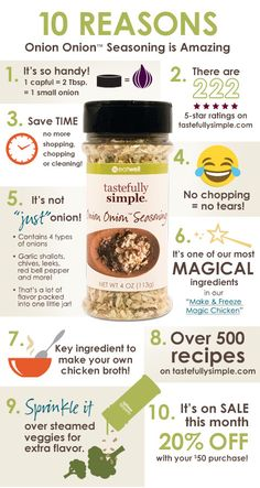 10 Reasons you need to try Tastefully Simple Onion Onion Seasoning - This versatile product has amazing flavor potential. There are over 700 recipes for this product alone on the website!