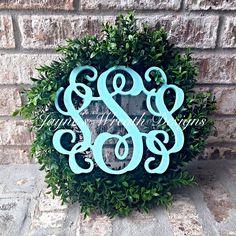 "Boxwood Wreath with Triple Vine Monogram Letter in ""Tiffany Blue""  Home decorating, door hangers, interior design   Jayne's wreath designs on FB and Instagram"