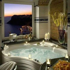 Decadent high-rise hot tub with a view