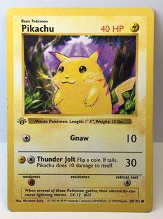 15 Pikachu / Pichu/ Raichu Cards- Includes Very Rare Purple Background Pickachu. Pikachu Pokemon Card, Old Pokemon Cards, Pokemon One, Pokemon Games, Original Pokemon Cards, Evolution Pokemon, Pokemon Trading Card, Trading Cards, Letters