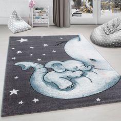 Kinderteppich Kinderzimmer Teppich niedlicher Elefantenbaby Stern Grau-Weiß-Bla Kids rug Kids room rug Cute elephant baby star Gray and white … – # GrauWeißBla