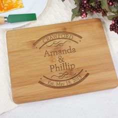 Personalized Engraved Couple's Bamboo Cheese Board - Gifts Happen Here