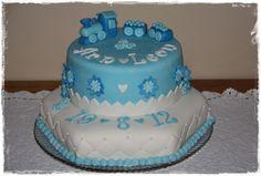 Christening baby boy train cake
