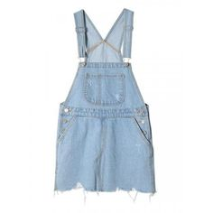 Light Blue Ripped Fringe Hem Denim Suspender Dress ($25) ❤ liked on Polyvore
