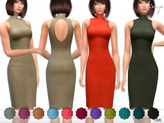 High neck sleeveless dress with open back. 14 different colors.  Found in TSR Category 'Sims 4 Female Everyday'