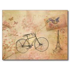 Romantic Vintage Paris in Spring Collage Post Cards Paris In Spring, Springtime In Paris, Old Bicycle, Romantic Images, Antique Illustration, Vintage Paris, Vintage Ephemera, Vintage Pictures, Vintage Photography