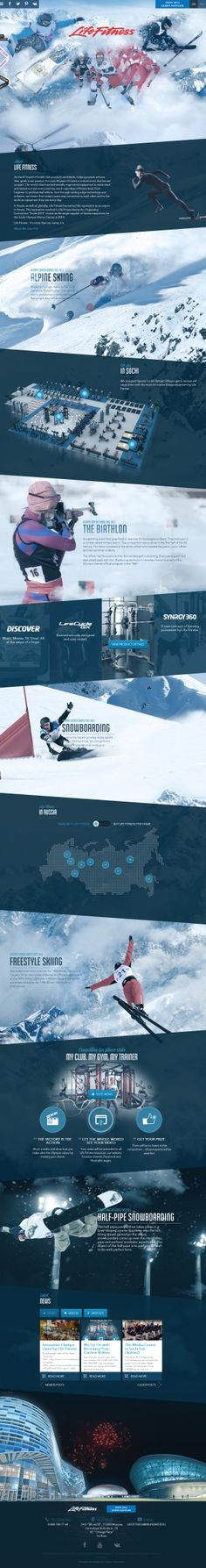 Winner 27 September 2013 Life Fitness at Sochi 2014 by Green Chameleon. A one page promotional website for Life Fitness and their involvement at Sochi Web Design Awards, Web Ui Design, Best Web Design, Page Design, Webdesign Layouts, Responsive Layout, Webdesign Inspiration, Website Design Inspiration, Web Layout