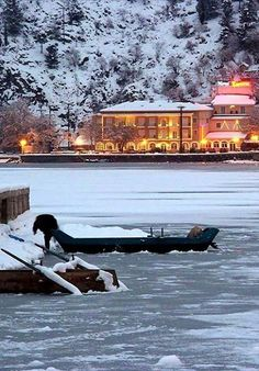 Kastoria lake in winter, Greece
