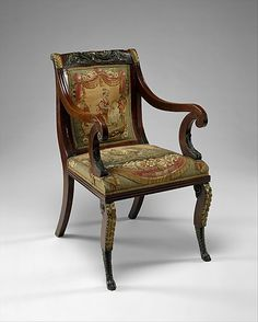 John Banks (active 1818–after 1825). Armchair, 1819–20. American. The Metropolitan Museum of Art, New York. Gift of Bernard, Dean and Frank Levy in honor of the Levy family's 100th Anniversary in the field of American Antiques, 2001 (2001.66) #tapestrytuesday