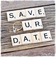 10 Scrabble Tiles Save Our The Date Wedding Engagement Photo Prop