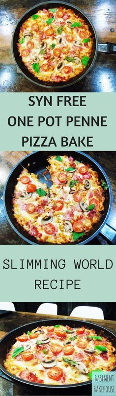 Slimming Syn - Free - One - Pot - Penne - Pizza - Bake - Pasta - Slimming - World - A totally syn free one pot pasta with pizza toppings! Slimming World Pizza, Slimming World Fakeaway, Slimming World Dinners, Slimming World Recipes Syn Free, Slimming Eats, Slimming World Baked Oats, Slimming World Taster Ideas, Aldi Slimming World Syns, Slimming World Pasta Bake