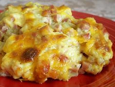Tater tot, ham & cheese Casserole Tasty, made for Family Night at church