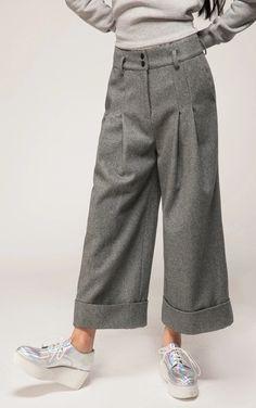 Women's Wide Leg Pants Wool Culottes Winter Warm Casual Trouser Low Crotch