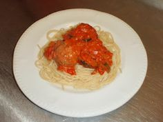 Meatballs and chunky tomato sauce. Delicious midweek meal!