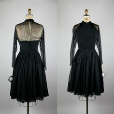 Vintage-50s-60s-Silk-Chiffon-Bombshell-Fit-Flare-Holiday-Cocktail-Party-Dress-S