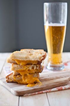 Brown Butter Grilled Beer Cheese Sandwich  (I love this blog... beer in everything!)