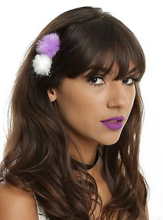 Blackheart Purple & White Puff Clips,