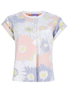 White cotton top from Marc Jacobs featuring a round neck, a top button fastening, a breast pocket, short rolled sleeves and an all-over tonal pink and purple floral print.