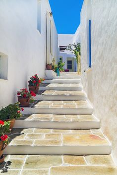 Stairs leading to traditional greek house on Sifnos island