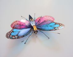 The Little BlueBell Butterfly, Circuit Board Insect by DewLeaf on Etsy