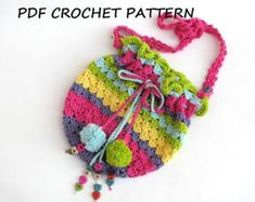 Girls Bag / Purse with Butterfly and Flowers Crochet by EvasStudio