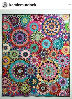 Kamie-Murdock-La-Passacaglia - TheDIYAddict: English Paper Piecing and Designer Quilt Fabrics Millefiori Quilt Pattern, Millefiori Quilts, Charm Square Quilt, Hexagon Quilt, Hexagons, Hexagon Pattern, Paper Pieced Quilt Patterns, Bargello Quilts, Colorful Quilts