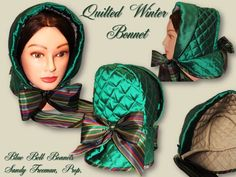 Quilted Winter Bonnet in Emerald Green Silk Taffeta, with a felt Lining and 100% Sheeps Wool Batting, can also be made in Velvet Fabric This Stunning Bonnet is already sold. I charge $89.00 if interested in having me make one for you