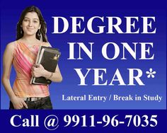 One Sitting Degree | Single Sitting Degree | Fast Track Degree in One Year #Admission Help Line No +91 9911-96-7035  Now #Students can save their time of gap years of 2 or 3 Years who have discontinued their study after 12th or Graduation, these candidates can complete their One Sitting Degree. We (My Career Mantra Academy) offer #Graduation program University approved by UGC using credit transfer method. This option can be utilize by students who have failed.