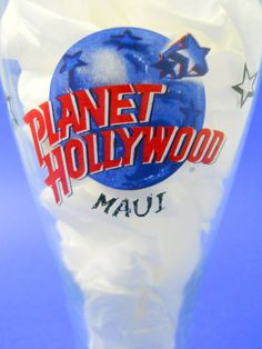 Planet Hollywood Maui Beer Glass Blue Red Logo Black Stars Discontinued 1999 #PlanetHollywood