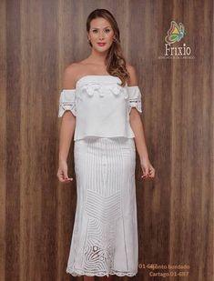 CONJUNTOS Y VESTIDOS - PRIMAVERAL Bordados y Accesorios Estilo Fashion, Strapless Dress, Shoulder Dress, Dresses, York, Style, Embroidered Blouse, Embroidered Dresses, White Gowns