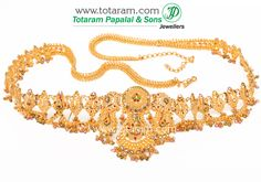 Totaram Jewelers: Buy 22 karat Gold jewelry & Diamond jewellery from India: 22 Karat Gold Vaddanam, Oddiyanam, Waist Belt, Kammar Patta