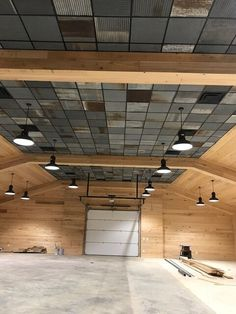 Create trendy loft look with Dakota Barn Tins. Rustic Ceiling Tile, Barn Tin, Metal Barn, Barndominium Floor Plans, Cool Garages, Pole Barn Homes, Ceiling Design, Ceiling Ideas, Metal Buildings
