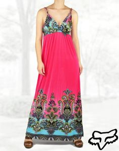 Hot Pink Moroccan Paisley Print Maxi Dress Bohemian Long Gown