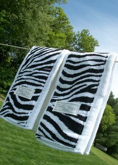 Set of two zebra print burp clothes by tadalyndesign