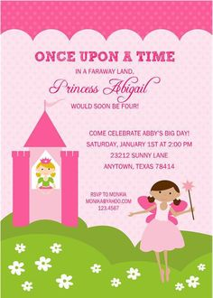 Princess+Birthday+Party+Invitations+by+PMCInvitations+on+Etsy,+$1.00