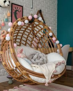 Swing, brick wall and woodwork for a room .Swing, brick wall and woodwork for a cozy and delicate room. Here the swing is the main protagonist of the decoration. Girl Bedroom Designs, Room Ideas Bedroom, Girls Bedroom, Bedroom Decor, Teen Bedrooms, Princess Bedrooms, Cute Room Ideas, Cute Room Decor, Aesthetic Room Decor