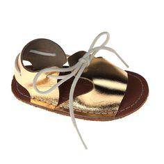Infant Tie Sandals Gold