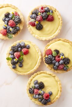 These sweet berry-topped tarts have a nutty surprise waiting at the bottom.