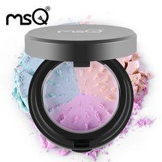 MSQ Profesional Herramienta Cosmética Polvos Sueltos 3 colores Mineral Polvo Con Hojaldre Minerales Mate Maquillaje herramientas de Maquillaje De Belleza