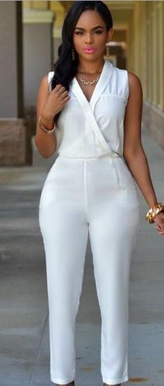 Dokotoo Dokotoo macacao feminino 2017 autumn Luxe White Jumpsuit summer body suits rompers overall for women All White Outfit, White Outfits, Classy Outfits, Sexy Outfits, Cool Outfits, Fashion Outfits, African Wear, African Fashion, Mode Glamour