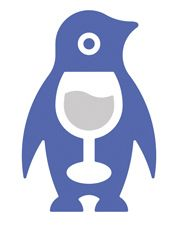 Penguins as wine lovers (wine logo with embedded wine glass, version 5)