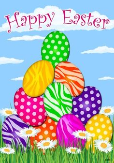 """""""Happy Easter"""" Polka Dot and Zebra Striped Decorated Eggs, Daisies Whimsical 12""""x18"""" Garden Flag  $12.44 #HappyEaster #Easter #GiftCards"""