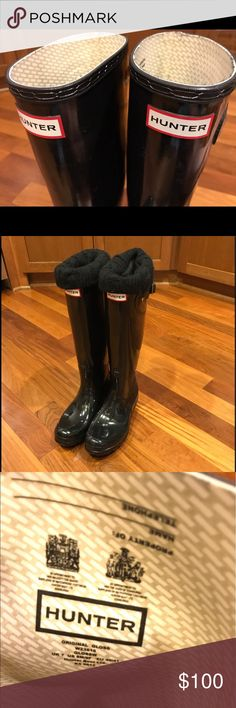 Hunter black high gloss boots Excellent condition!! Shiny black Hunter boots. Includes cute cable boot socks (not hunter brand). M8/W9 UK7 and EU40/41 Hunter Shoes Winter & Rain Boots