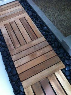 Teak Deck Tiles and gravel DIY walkway Pallet Path, Pallet Decking, Pallet Wood, Pallet Bridge, Garden Pallet, Wood Walkway, Outdoor Walkway, Outdoor Decor, Backyard Walkway