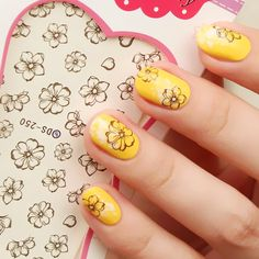$0.99 1 Sheet Vintage Stylish Colored Flower And Vine Pattern Nail Art Water Decals Transfers Sticker - BornPrettyStore.com