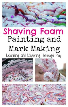 Shaving Foam Painting. Painting Ideas for Kids. Fun for Kids. Mark Making. Sensory Play. Tuff Tray. Learning and Exploring Through Play.