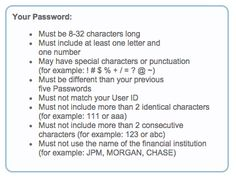 These @Chase password requirements are so confusing & hard to read!! Does it have to be this complex? #ux #uxfail