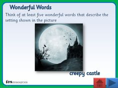 Interactive teaching activity where pupils think of imaginative and descriptive words that reflect the photos shown. Includes a selection for worksheets, in different styles, to accompany each slide. The resource is designed for word work but could easily be extended if desired. Allows for whole class, small group, or individual work.
