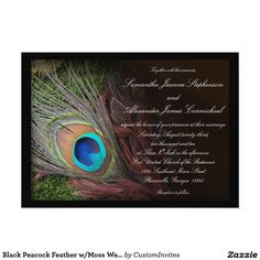 "Black Peacock Feather w/Moss Wedding Invitations 5"" X 7"" Invitation Card"