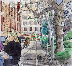 Urban Sketchers Paris: Dimanche d'élections municipales à Paris pour notre amie Bourguignonne!